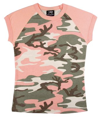 Women's Subdued Pink Camo Short Sleeve Raglan T-Shirt - Large