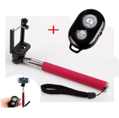 """Shopping_Shop2000 Extendable Camera Selfie Self Portrait Shooting Pole Adjustable Handheld Monopod Mount Universal Holder For Iphone 5S 5C 5 4S 4 Htc One Lg Sony Samsung Galaxy Mobile Cell Phone With Bluetooth Remote Camera Wireless Shutter (Extends 9"""" Ou"""