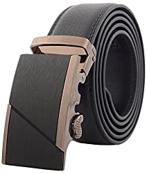 Binlion Frosted Auto Bucket Real Leather Belt for Men(115 Black)