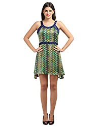 New Arrival FashionVerb Striped print Green blue Satin Party ball gown Round Neck Sleeveless Short mini length 1 piece dress for women latest clothing