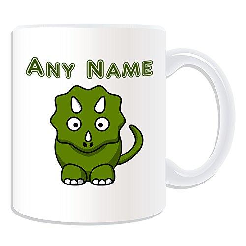 Cadeau-personnalis-de-Silly-Animal-Triceratops-Mug-Dinosaure-Blanc-nom-sur-votre-propre-Message