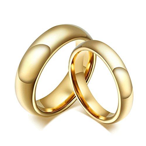 alimab gioielli anelli unisex acciaio inossidabile Fedi Smooth Circle, Acciaio inossidabile (6 mm), 19, colore: oro, cod. BWNSXDE657