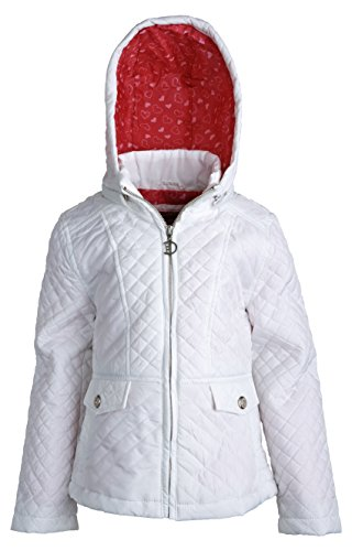 Dollhouse Girls Quilted Trench Rain Spring Jacket with Detachable Hood - White (Size 6X)