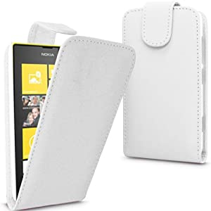 Gadget Giant ® White PU Leather Flip Case Cover For Nokia Lumia 520