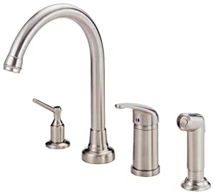 kitchen faucet with matching side spray and soap and lotion dispenser