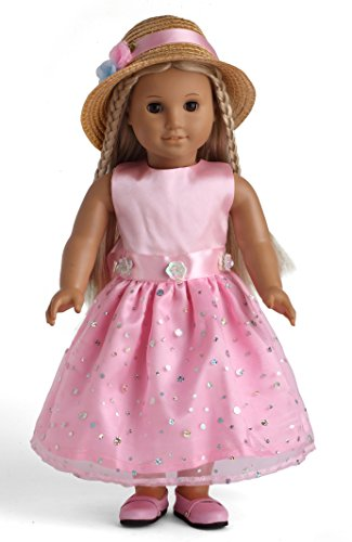 Pink Party Dress with Sequins Doll Clothes for 18 Inch American Girl Doll - 1
