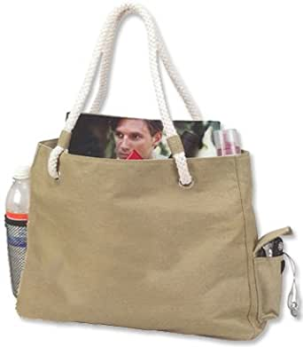 Canvas Zipper Tote Bag with Braided Handle, Taupe