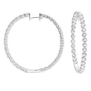 14k White Gold 5.16 Dwt Diamond Hoop Earrings 40mm - JewelryWeb