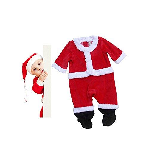クリスマスサンタ コスプレ  ベビー服  サンタスーツ サンタ キッズの服  防寒ボアジャンプスーツ Ruleronline (3ヶ月(身長67cm))