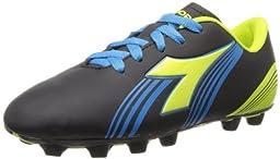 Diadora Soccer Avanti MD JR Soccer Shoe (Toddler/Little Kid/Big Kid),Black/Fluorescent Yellow/Blue,10.5 M US Little Kid