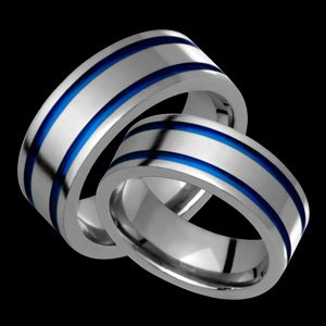 Cosmo - size 9.50 Titanium Wedding Band Set with Blue Grooves. Choose your Color for Free!