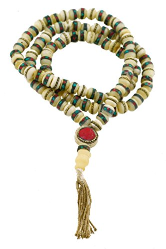 Hemp String White Tibetan 8mm Yak Bone Medicine Beads Prayer Beads Tibetan Mala Necklace (Hemp Medicine Beads)