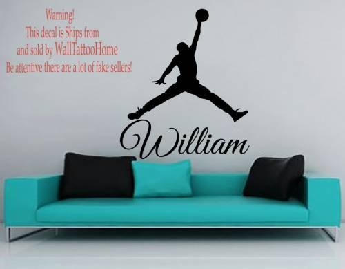 Wall Decals Personalized Name Basketball Decal Vinyl Sticker Window Nursery Bedroom Gym Interior Design Home Decor Hall Dorm Art Murals Ah55 (Boy Personalized Wall Murals compare prices)