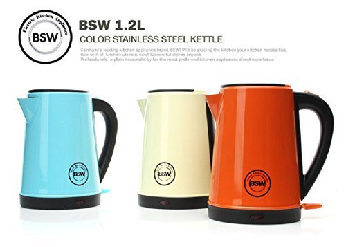 BSW Electric Kettle 1.2L Cordless Hot Water Tea Pot Stainless Steel BS-1415-KS2 (SkyBlue) (Plug Kettle compare prices)