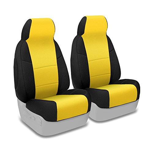 Coverking Custom Fit Front 50/50 Bucket Seat Cover For Select Nissan Armada Models - Neoprene 2-Tone (Yellow With Black Sides) front-68057