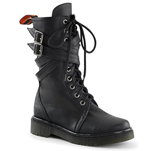 Womens Combat Boots with Buckle Straps and 1.25 Inch Heels Vegan Boots