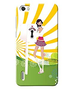 Fuson Telephone Booth Girl Back Case Cover for HUAWEI HONOR 6 - D3982