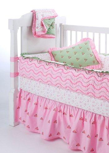 Bacati Summer Garden Pink Green 3 Pc Crib Bedding Set