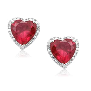 Click to buy 10k White Gold Heart-Shaped Created Ruby with Diamonds Heart Earrings from Amazon!