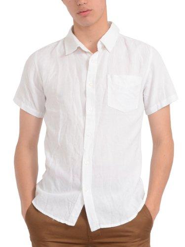 (スペイド) SPADE シャツ 半袖 綿麻 麻 リネン カラー 白シャツ カジュアル Yシャツ 【w387】 (M, ホワイト)