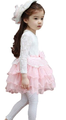 New Casual Girls Dress Top Kid Lace Floral Princess Long Sleeve Dresses For1-6Years (#15 For For 5-6 Years, Pink) front-225607