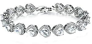 18K White Gold Plated Women Charm Bracelet Inlaid White Crystal Love Heart Tennis Bracelet 19CM - Adisaer