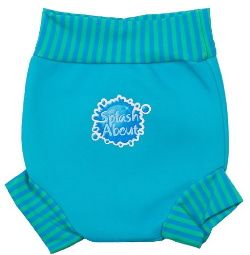 Splash About Neoprene Happy Nappy (Swim Diaper), Turquoise With Blue Lagoon Rib, Large (About 6-14 Months) front-403757