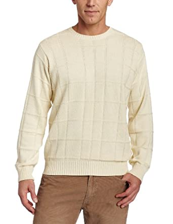 Arrow Men's 7GG Basic Windowpane Sweater, Antique White, Small