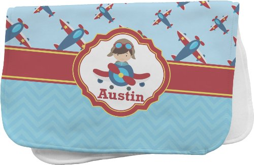 Airplane Theme Personalized Burp Pad front-694341