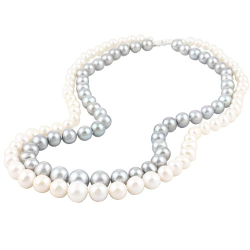Graduated Gray and White Freshwater Pearl Necklace (6-11 mm)