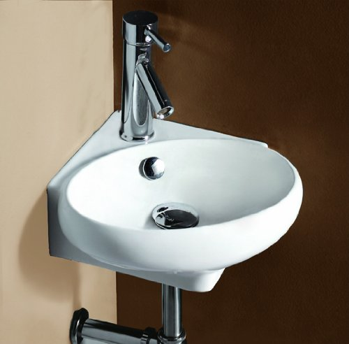 the Elite Sinks 1103 Porcelain Corner Wall-Mounted Oval Compact Sink ...