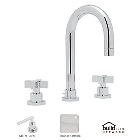 Rohl BA108X-APC-2 A1401Lmstn Modern Widespread Bathroom Faucet with Metal Cross Handles and Pop, Polished Chrome