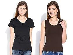 Happy Hippie Women's Combo T-shirt Black-Brown