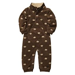 Carter\'s Boys Football Microfleece 1 Pc Coveralls Jumpsuit Brown (18 months)
