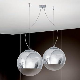 Lampadario sospensione 1 luci cromo design moderno - Illuminazione design interni ...