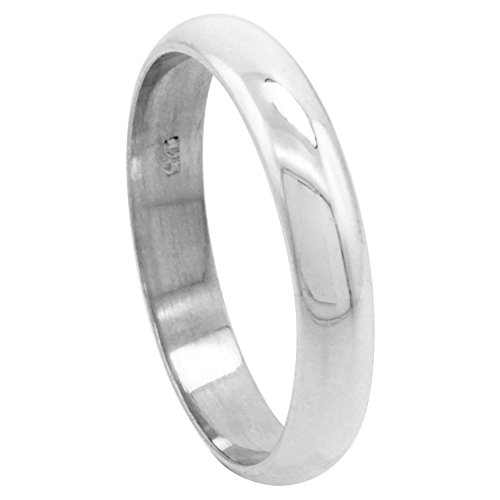 Sterling Silver 4 mm High Dome Wedding Band Thumb Ring