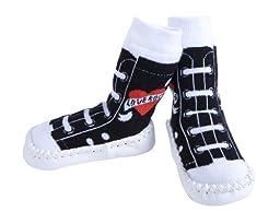 JazzyToes Slippers  Rock & Roll Love Rocks Sneakers, Black/White, 18 24 Months