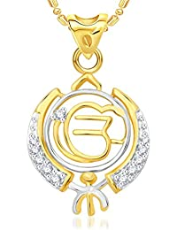 VK Jewels The Khanda Gold And Rhodium Plated Alloy Pendant With Chain For Men & Women Made With Cubic Zirconia...