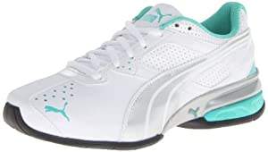 PUMA Women's Tazon 5 Cross-Training Shoe,White/Silver/Electric Green,8 B US
