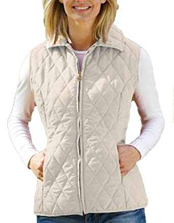 Ladies Country Estate Zip Front Closure Quilted Gilet Bodywarmer Jacket Cream 18