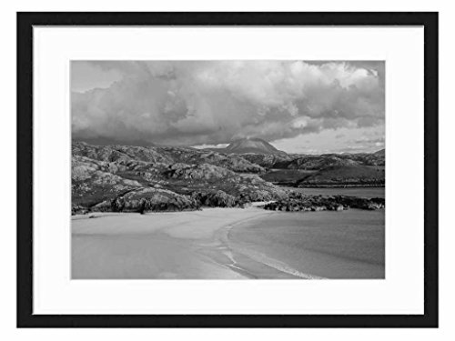 polin-beach-kinlochbervie-scotland-art-print-wall-solid-wood-framed-picture-black-white-20x14-inches