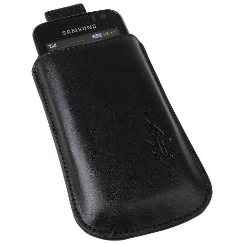 XiRRiX Vertikal Tasche Hülle Case Handy Tasche mit Ausziehhilfe und XiRRiX Prägung schwarz für Swissvoice MP40