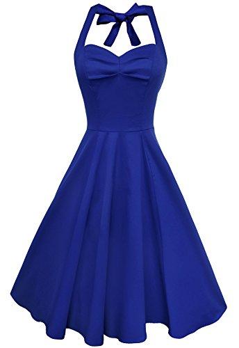 Anni Coco Women's Halter 1950s Vintage Swing Tea Dresses Royal Blue XX-Large