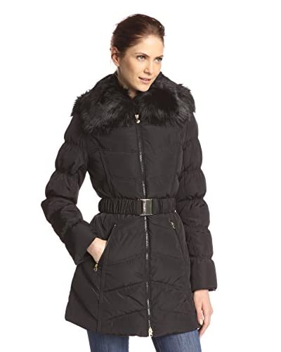Laundry by Shelli Segal Women's Belted Down Coat with Faux Fur  [Black]