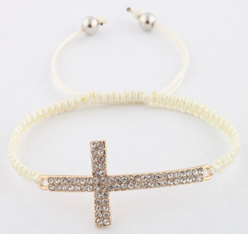 Off White with Gold Lace Style Iced Out Cross Bracelet with Beaded Disco Balls Macrame Shamballah