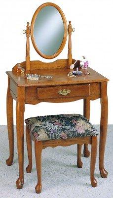 Powell Nostalgic Oak Vanity Mirror and Bench Set