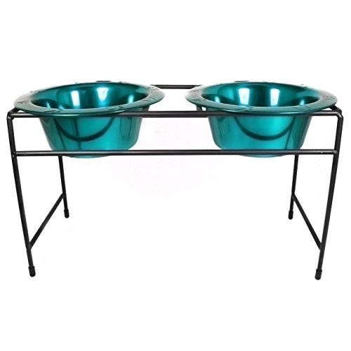 Platinum Pets Modern Double Diner Stand with Two 4 Cup Rimmed Bowls, Teal