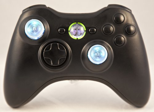 Drop Shot, Auto-Aim, Jitter Xbox 360 Modded Controller Cod Mw3, Black Ops 2, Mw2, Rapid Fire Mod (Black W/Led Thumbsticks And Guide Button)