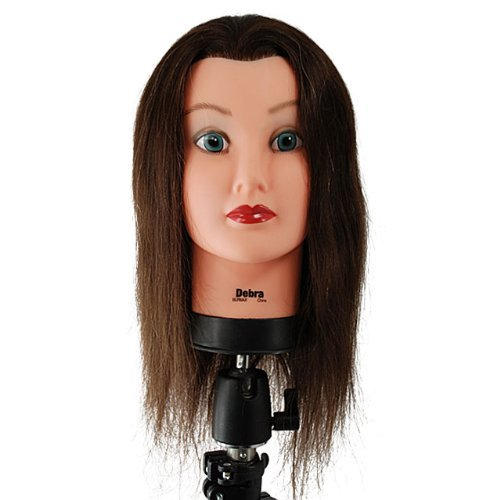 "Celebrity 21"" Cosmetology Mannequin Head 100% Human Hair, Brown - Debra front-63138"
