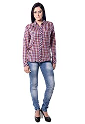 iamme Cotton red check shirt with full sleeves and buttoned cuffs